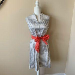 Garnet Hill stripe bow belt shirt dress #4556